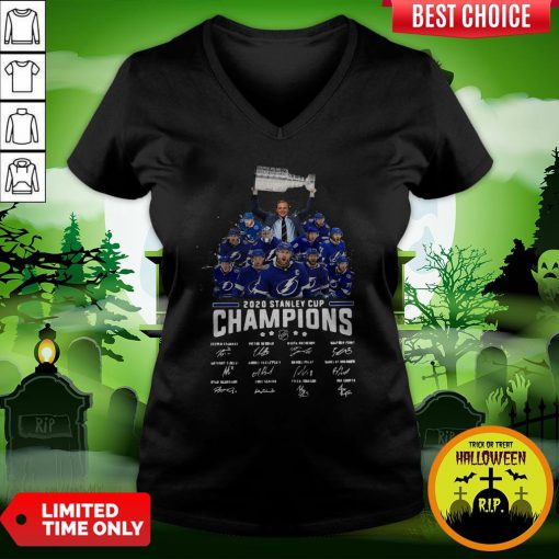 2020 Stanley Cup Champions Tampa Bay Signatures V-neck