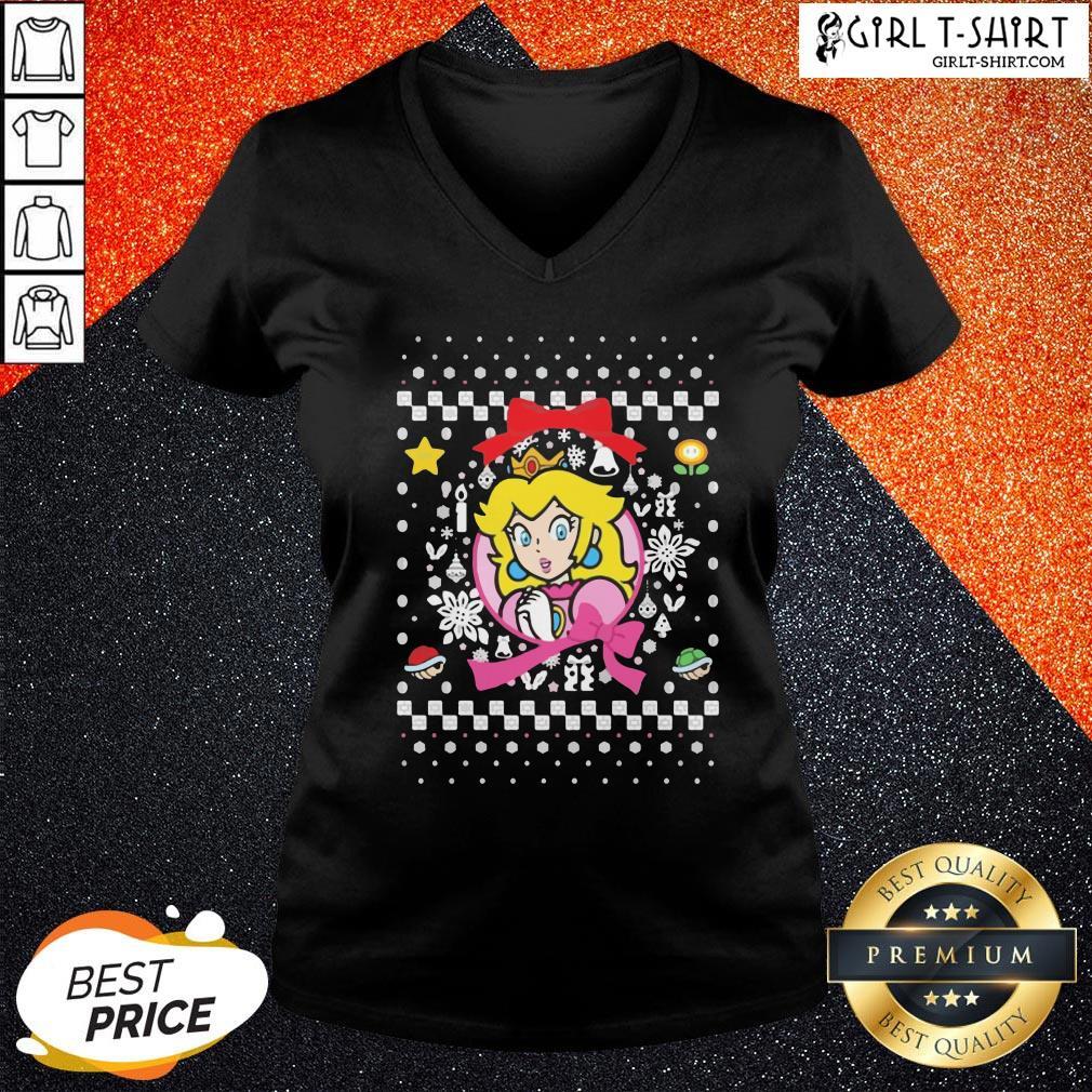 Best Super Mario Bros Princess Ugly Merry Christmas V-neck - Design By Girltshirt.com