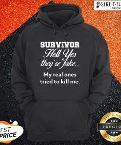 Breast Cancer Survivor Hell Yes They're Fake Hoodie