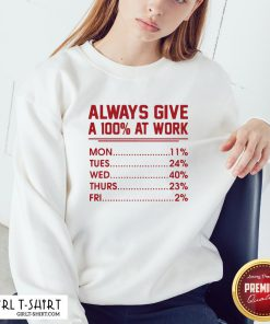 Come Always Give A 100% at Work Mon Tues Wed Thurs Fri Red Sweatshirt - Design By Girltshirt.com
