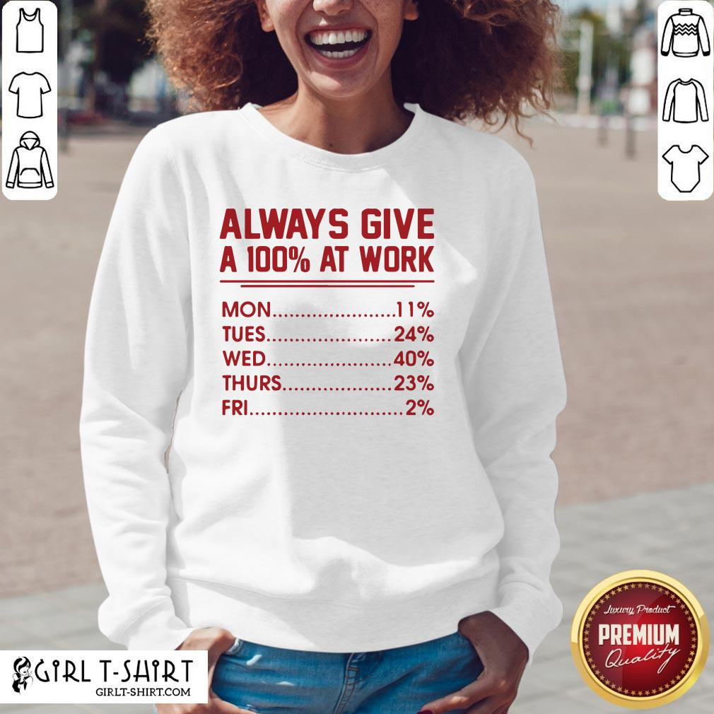 Come Always Give A 100% at Work Mon Tues Wed Thurs Fri Red V-neck- Design By Girltshirt.com