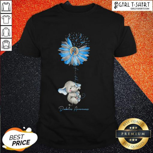 Faith Hope Fight Love Elephant Sunflower Diabetes Awareness Shirt
