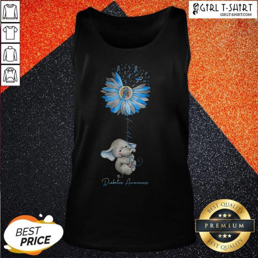 Faith Hope Fight Love Elephant Sunflower Diabetes Awareness Tank Top