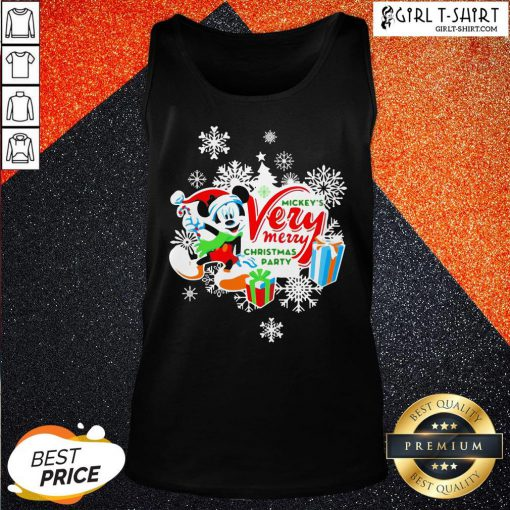 Frist Mickey's Very Merry Christmas Party Snow Tank Top - Design By Girltshirt.com