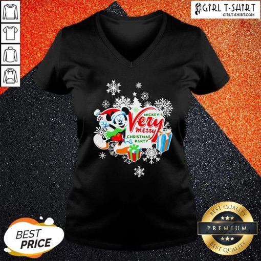 Frist Mickey's Very Merry Christmas Party Snow V-neck - Design By Girltshirt.com