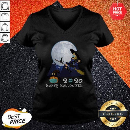 Happy Halloween 2020 Funny Witch Quarantined V-neck