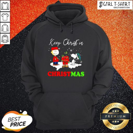 Happy Snoopy And Charibow Keep Christ In Christmas Hoodie- Design By Girltshirt.com