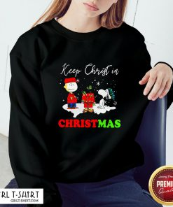 Happy Snoopy And Charibow Keep Christ In Christmas Sweatshirt - Design By Girltshirt.com