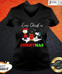 Happy Snoopy And Charibow Keep Christ In Christmas V-neck- Design By Girltshirt.com