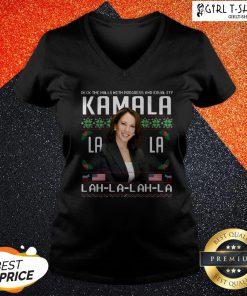 Harris Deck The Halls With Progress And Equality Kamala Lah La Lah La Christmas V-neck