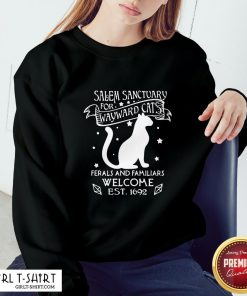 Hi Nice Cat Salem Sanctuary For Wayward Cats Ferals And Familiars Welcome Est 1692 Sweatshirt - Design By Girltshirt.com