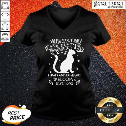 Hi Nice Cat Salem Sanctuary For Wayward Cats Ferals And Familiars Welcome Est 1692 V-neck - Design By Girltshirt.com