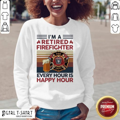 I'm A Retired Firefighter Every Hour Is Happy Hour Vintage V-neck - Design By Girltshirt.com