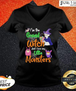 I'm The Grand Witch And I Love My Little Monsters Halloween V-neck - Design By Girltshirt.com