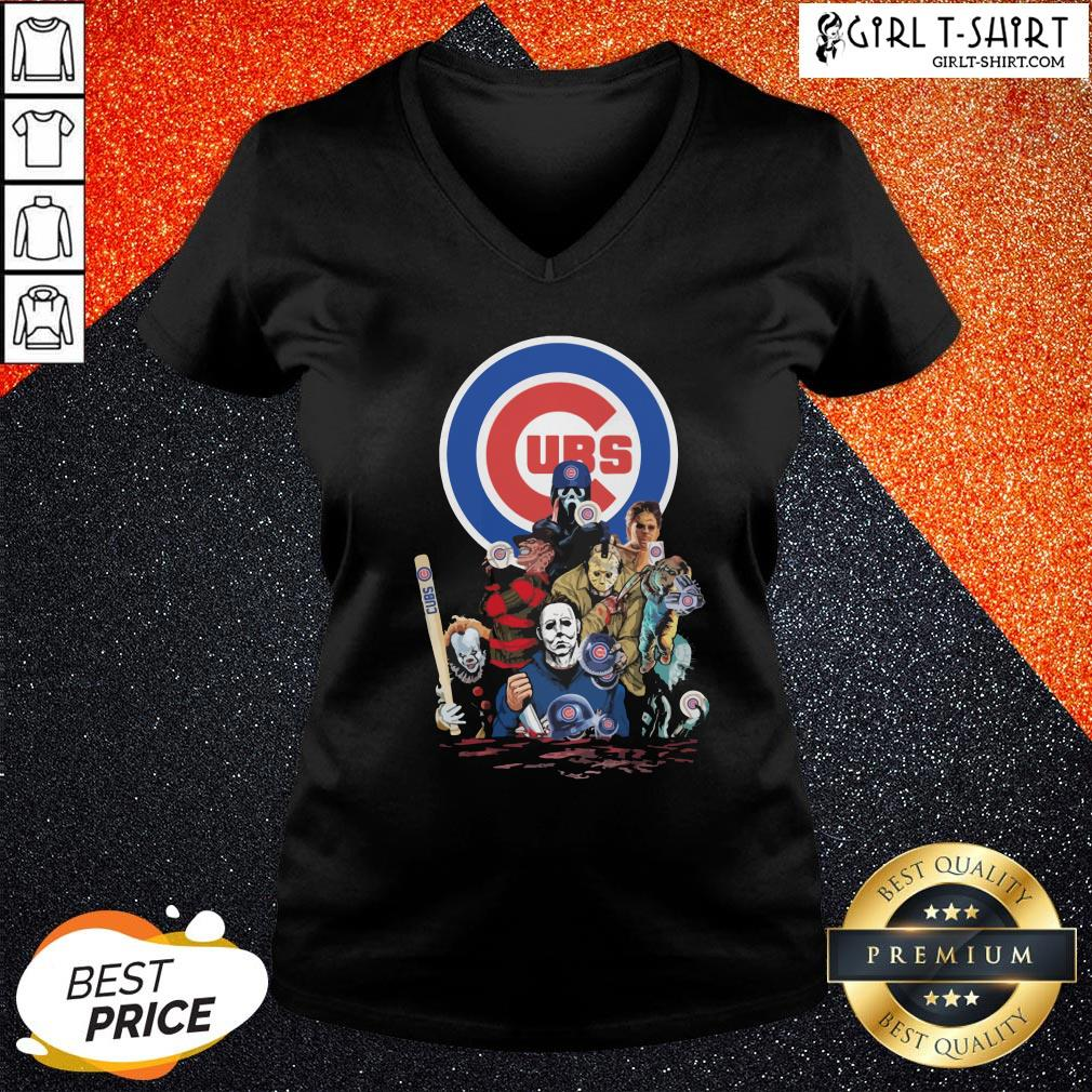 In Horror Movie Characters Chicago Cubs Baseball V-neck - Design By Girltshirt.com
