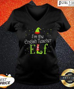 Look I'm the English Teacher Elf Christmas V-neck - Design By Girltshirt.com