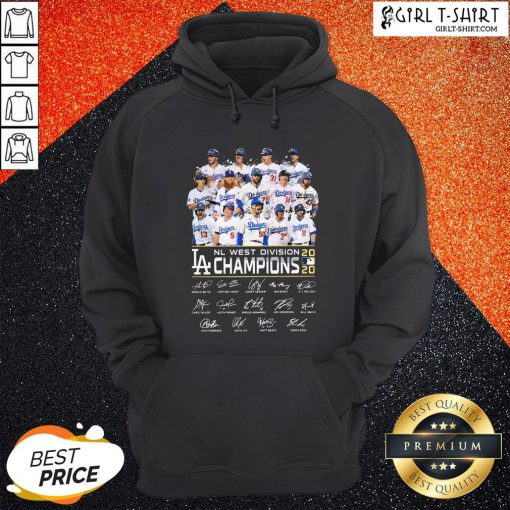 Los Angeles Dodgers NL West Division Champions 2020 Signatures Hoodie