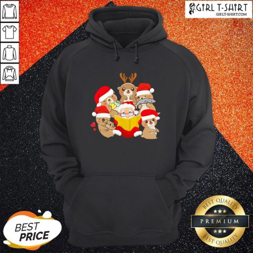 More Otters and Santa Christmas Hoodie - Design By Girltshirt.com