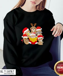 More Otters and Santa Christmas Sweatshirt- Design By Girltshirt.com