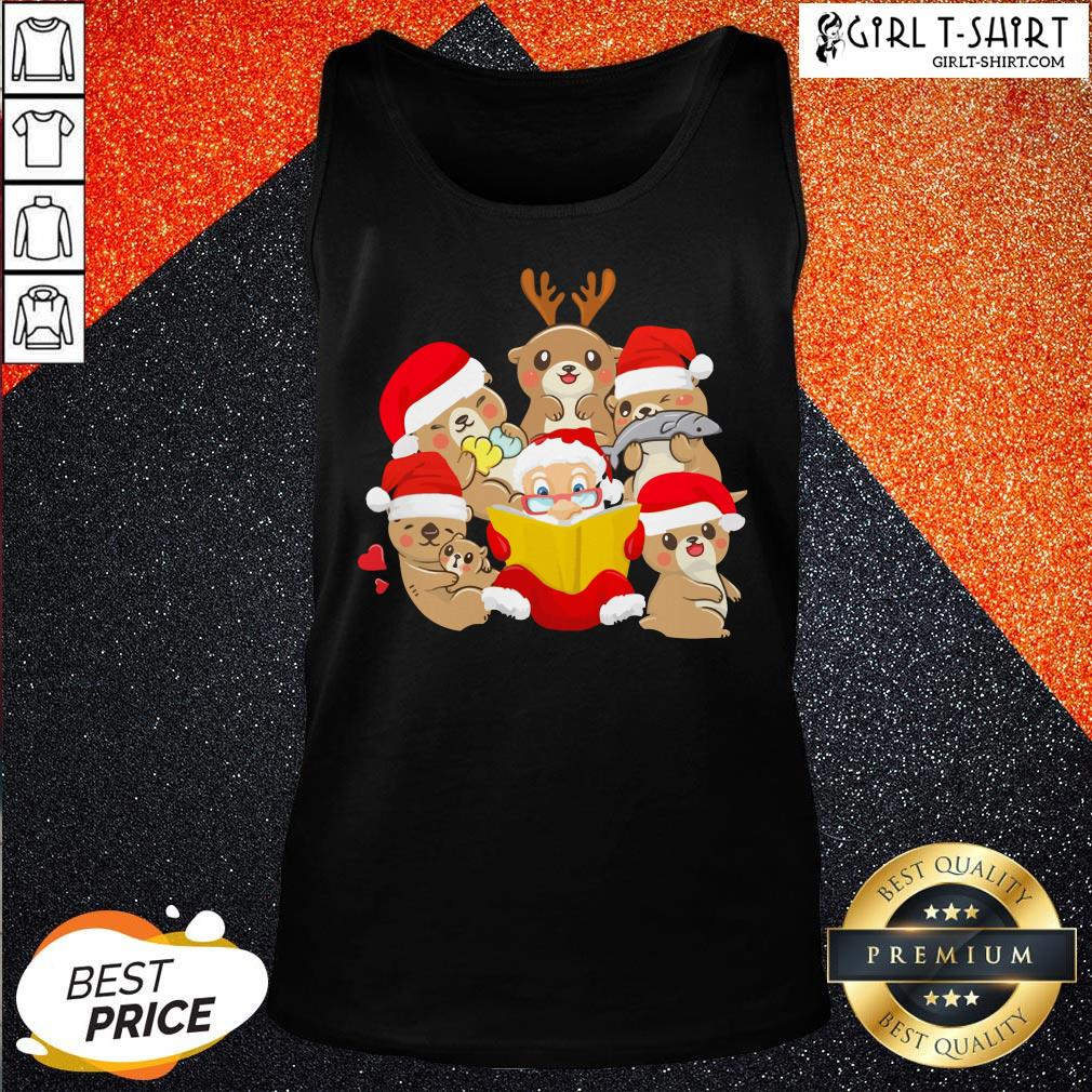More Otters and Santa Christmas Tank Top - Design By Girltshirt.com