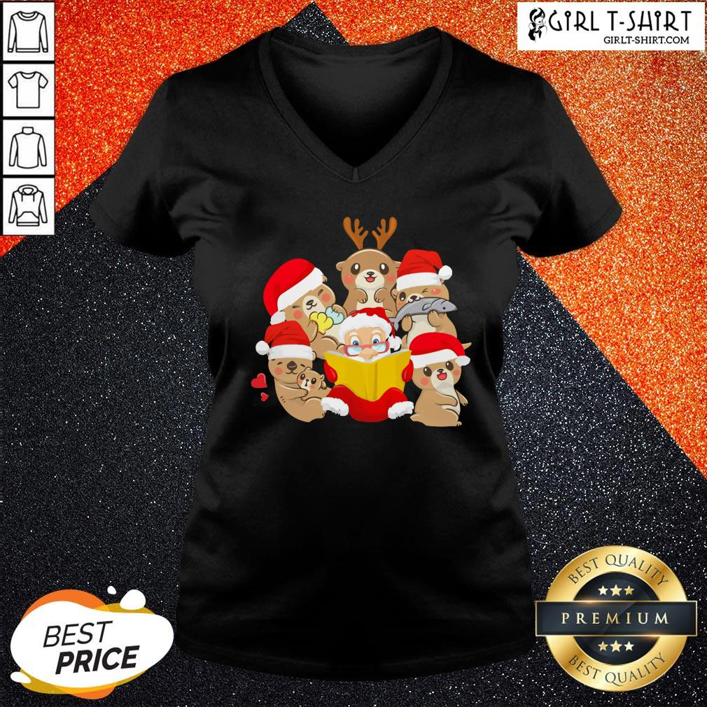 More Otters and Santa Christmas V-neck - Design By Girltshirt.com