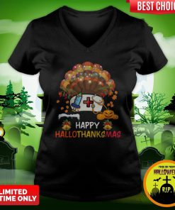 Nurse Happy Hallothanksmas V-neck