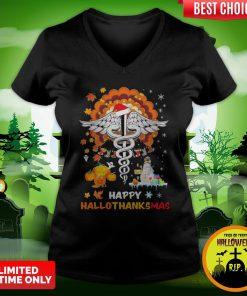 Nurse Illustration Happy Hallothanksmas V-neck
