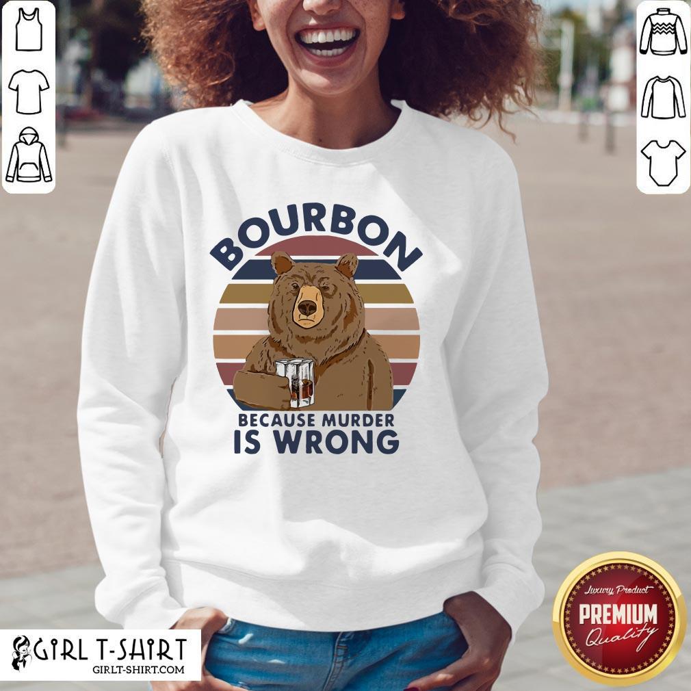 Official Bear Drink Bourbon Because Murder Is Wrong Vintage V-neck- Design By Girltshirt.com