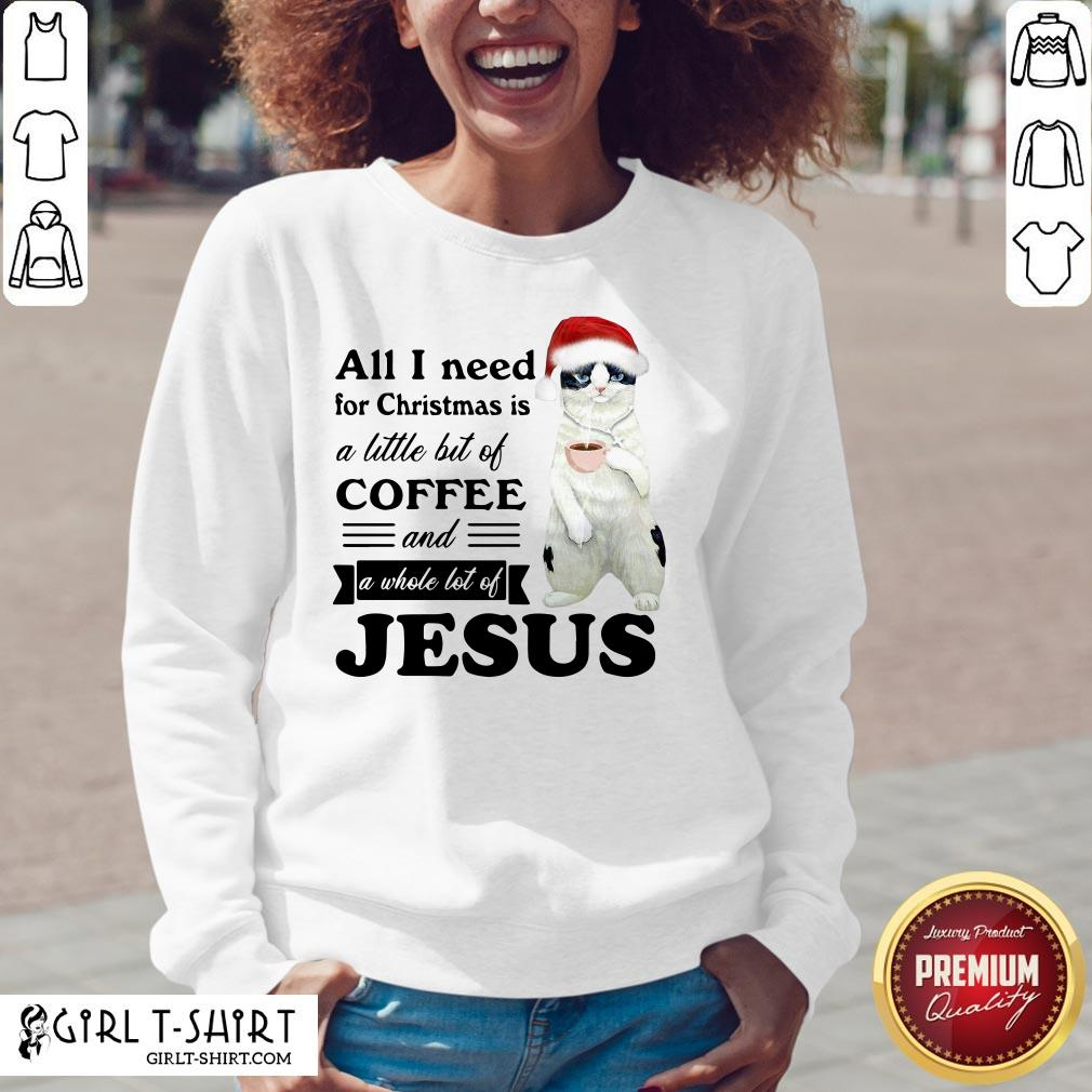 Official Cat All I Need For Christmas Is A Little Bit Of Coffee And A Whole Lot Of Jesus V-neck - Design By Girltshirt.com
