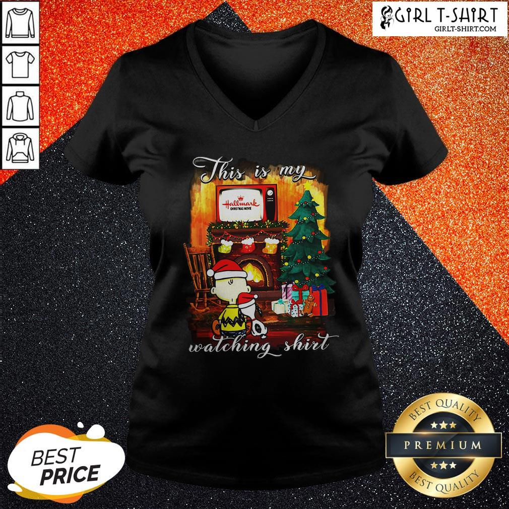 Official Funny Snoopy And Charlie Brown This Is My Hallmark Christmas Movie Watching V-neck - Design By Girltshirt.com
