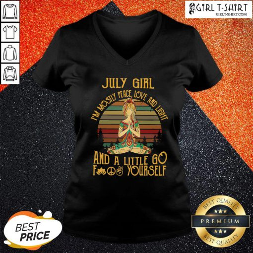 Official Hippie July Girl I'm Mostly Peace Love And Light And A Little Go Yourself Vintage V-neck - Design By Girltshirt.com