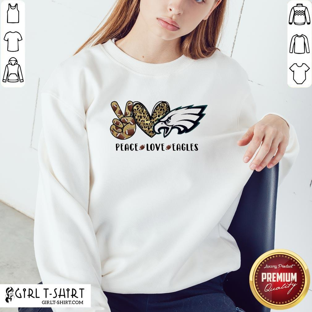 Official Peace Love And Eagles Leopard Sweatshirt - Design By Girltshirt.com