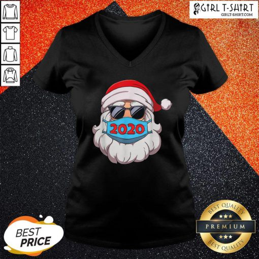 Official Santa Claus Face Mask Glasses 2020 V-neck - Design By Girltshirt.com