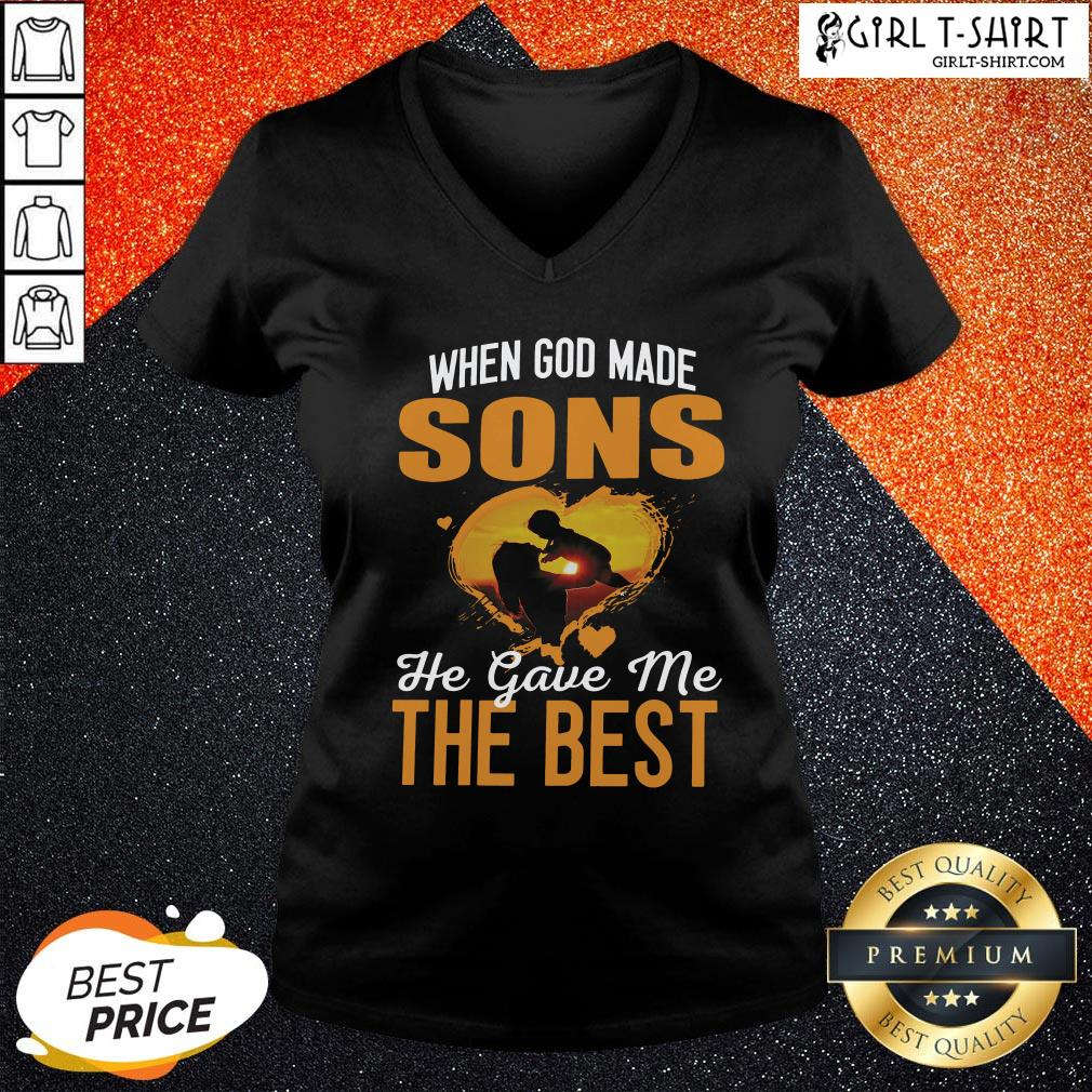 Official When God Made Sons He Gave Me The Best V-neck - Design By Girltshirt.com