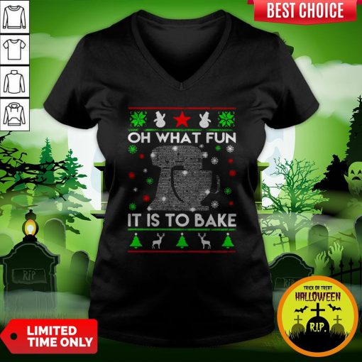 Oh What Fun It Is To Bake Merry Christmas V-neck