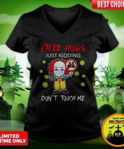 Pennywise Face Mask Free Hugs Just Kidding Don't Touch Me V-neck