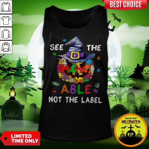 Pumpkin Autism See The Able Not The Label Halloween Tank Top