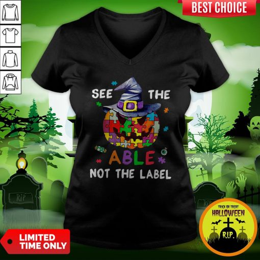 Pumpkin Autism See The Able Not The Label Halloween V-neck