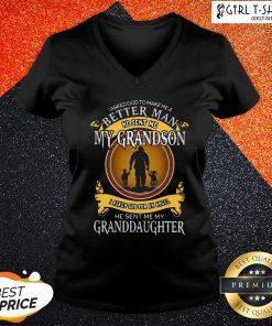 See I Asked God To Make Me A Better Man He Sent Me My Grandson V-neck- Design By Girltshirt.com