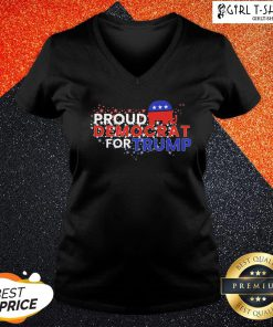Some Proud Democrat For Trump American Flag V-neck- Design By Girltshirt.com