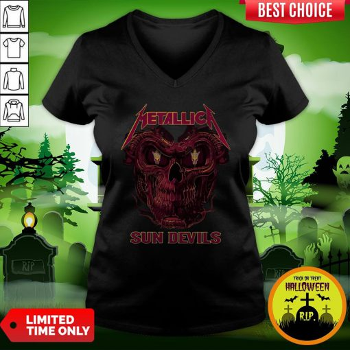 Sweet Skull Metallica Arizona State Sun Devil V-neck
