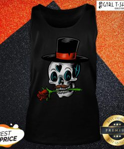 The Man With Rose Sugar Skull Dia De Muertos Day Of Dead Tank Top