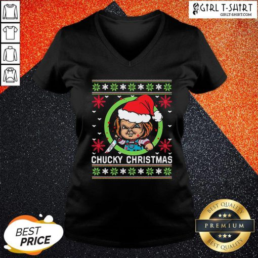 Things Chucky Horror Knife Ugly Christmas V-neck - Design By Girltshirt.com