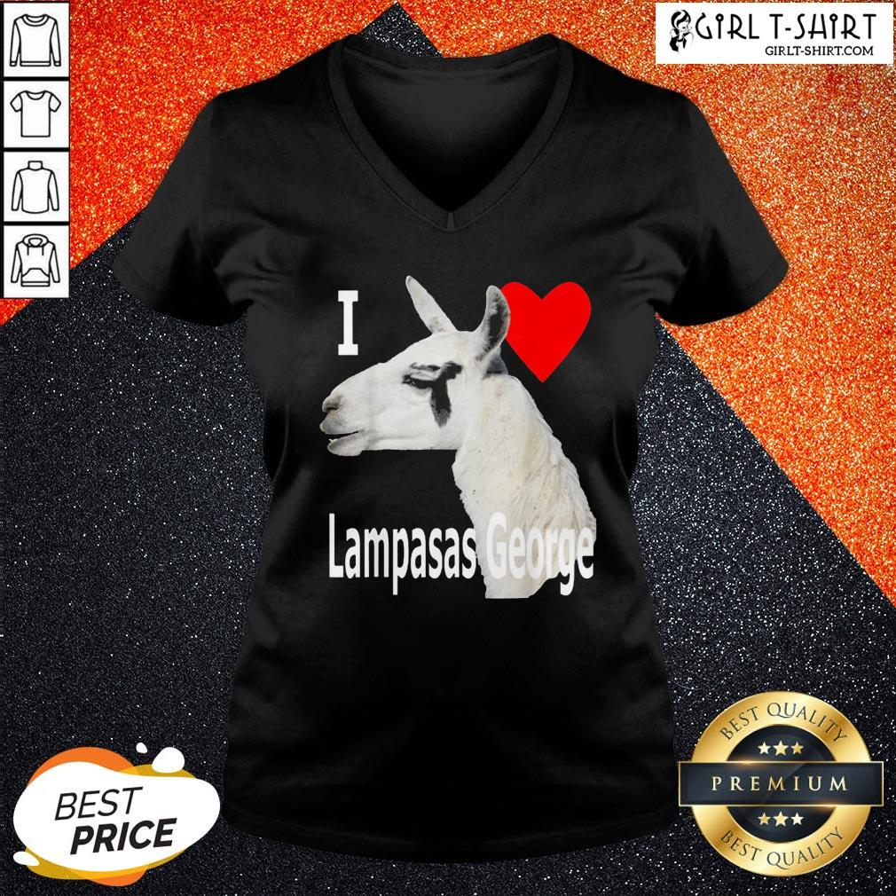 What I Love Lampasas George The Llama White Letter V-neck - Design By Girltshirt.com