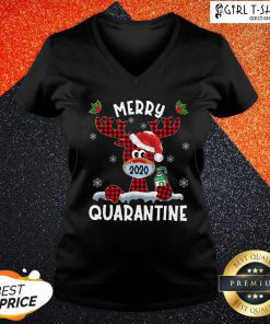 What Reindeer Face Mask 2020 Merry Christmas Quarantine V-neck - Design By Girltshirt.com
