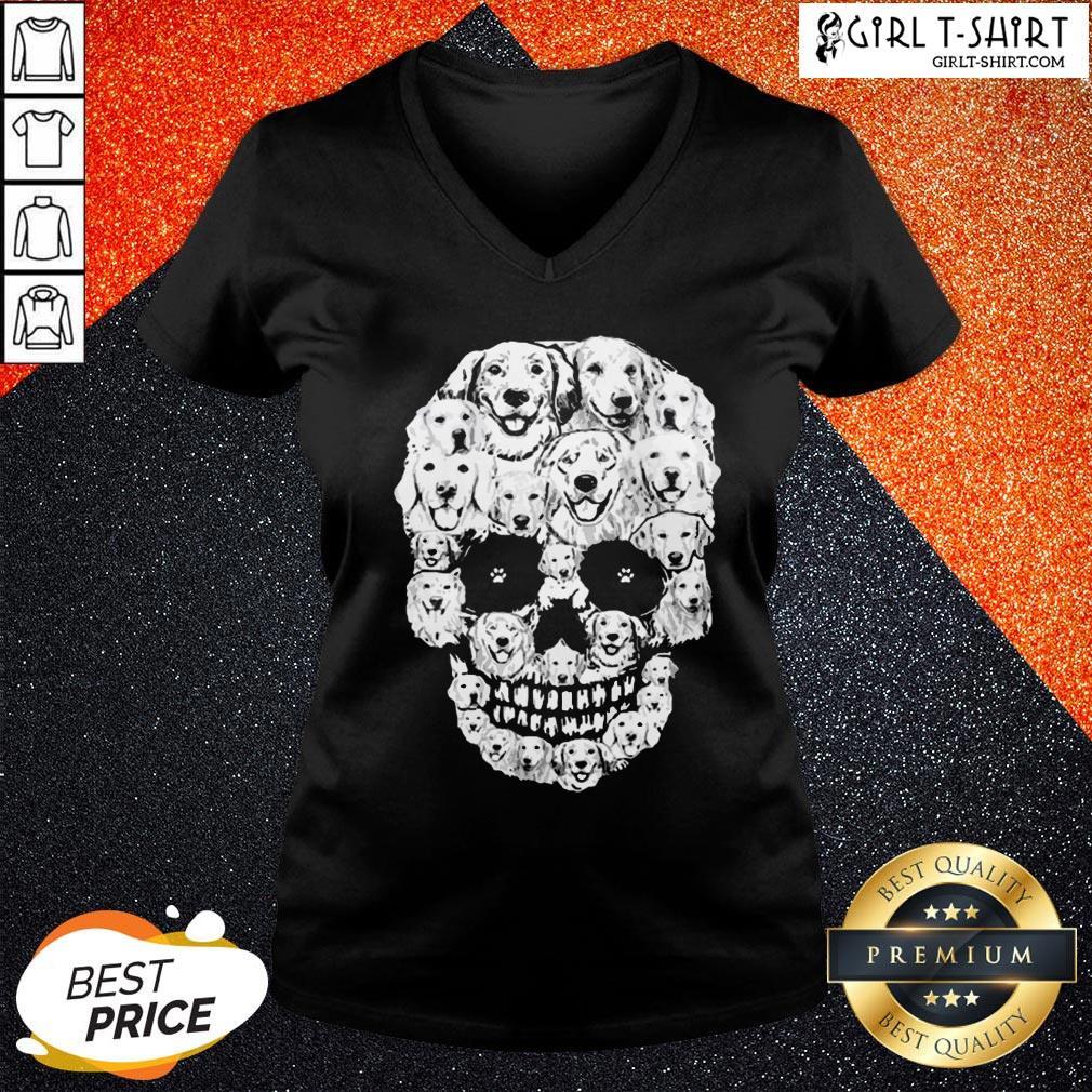 World Golden Retriever Skull V-neck - Design By Girltshirt.com