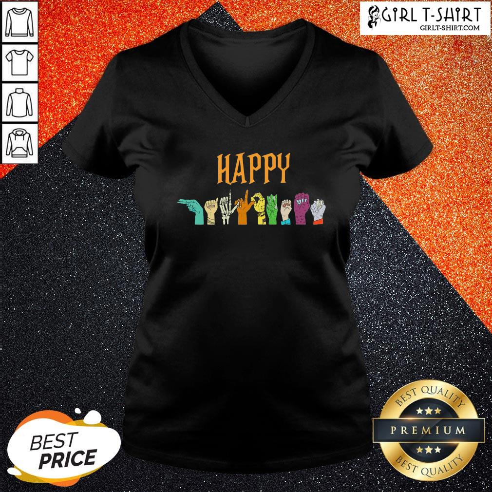Young Happy Halloween Hand Sign V-neck - Design By Girltshirt.com
