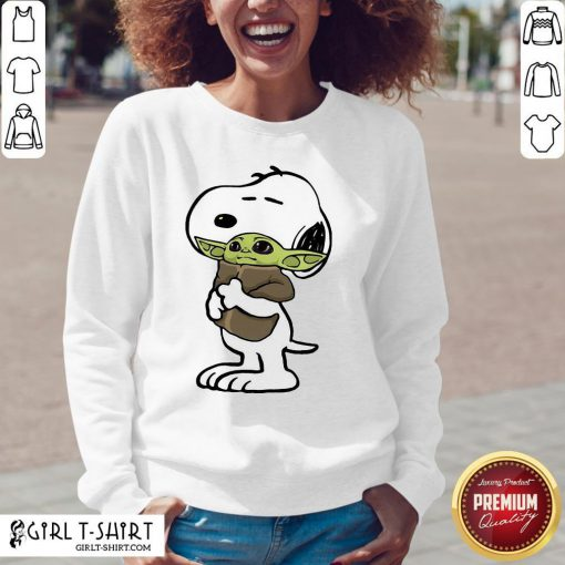 Awesome Snoopy Hugged Baby Yoda Tightly V-neck - Design By Girltshirt.com