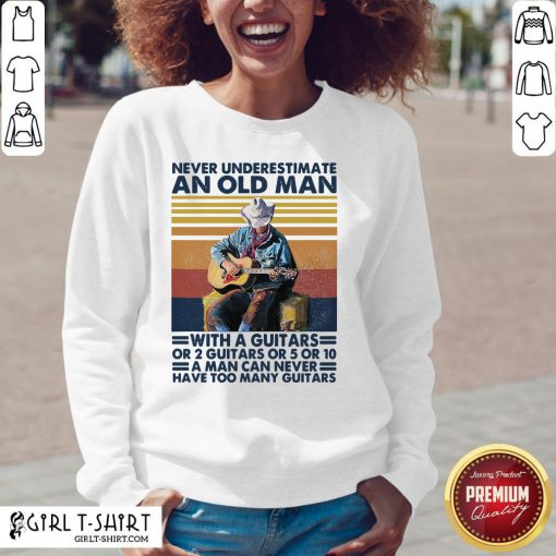 Bad Never Underestimate An Old Man With A Guitars For 2 Guitars Or 5 Or 10 Vintage Retro V-neck - Design By Girltshirt.com