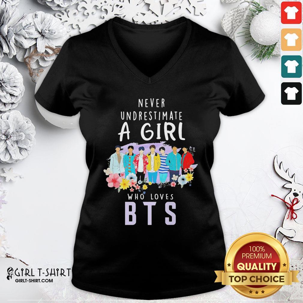 Blue Never Underestimate A Girl Who Loves BTS V-neck - Design By Girltshirt.com